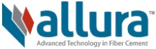 Construction Products Allura Logo. Allura is in small letters & the text is blue. Underneath is Advanced Technology in Fiber Cement. There are 3 rectangles on left side; colors are blue, gray & red.