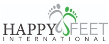 Construction Products Happy Feet International Logo. The left foot is gray and the right foot is green. The text is in black and gray. The two feet are between the text Happy & Feet.