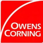 "Construction Products Owens Corning Logo. Red background, the text ""Owens Corning"" bottom third, a circular white line from bottom left to top right"