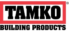 Construction Products Tamko Logo. TAMKO is in black text with a red border around it. Underneath is Building Products in black text.